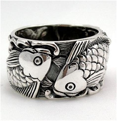 japanese carp koi fish tattoo  sterling silver mens