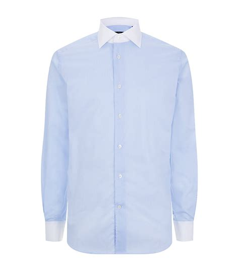 Contrast Collar Shirt corneliani contrast collar shirt in blue for white