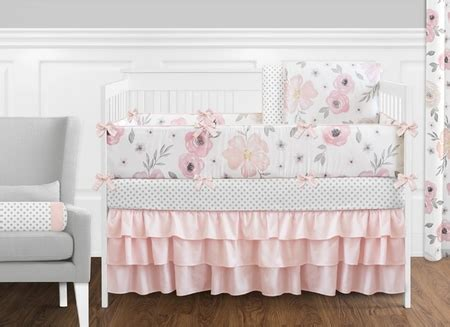 pink and gray crib bedding sets watercolor floral pink and grey crib bedding set sweet jojo designs