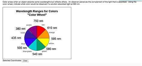 color wheel with wavelengths solved color arises when an object absorbs some wavelengt