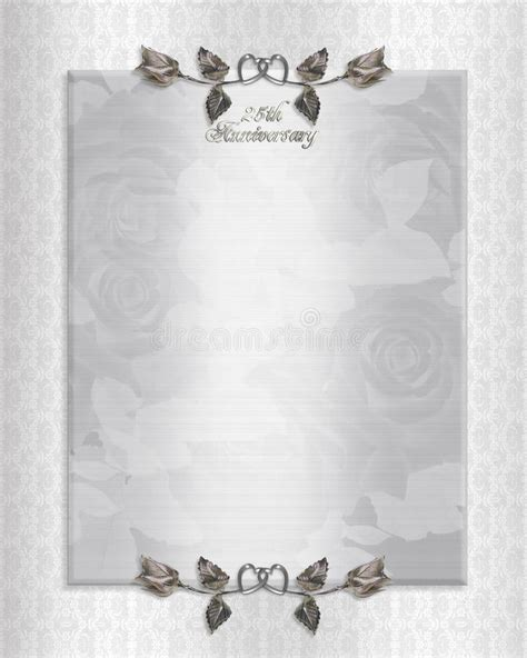 25th silver anniversary invitation stock illustration