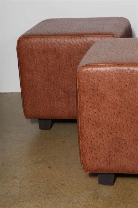 custom made ottomans set of 5 custom made square leather ottomans at 1stdibs