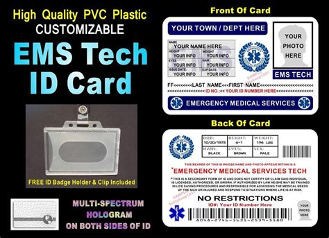 Ems Gift Card - ems emergency medical services id badge card gt custom w your photo info