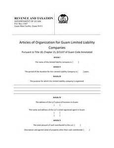 Llc Articles Of Organization Template by Guam Articles Of Organization Free Template Form