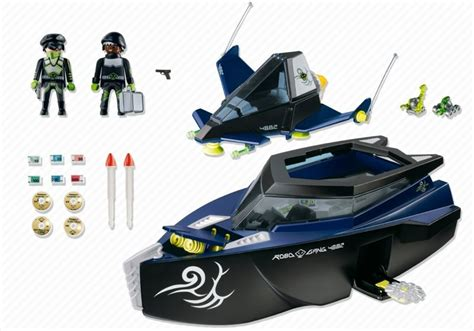 playmobil secret agent boat playmobil set 4882 robo gang battle yacht klickypedia