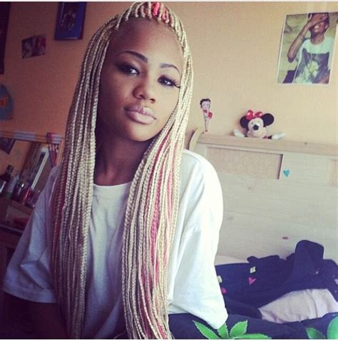 Blonde Pink Black Braids | blonde and pink box braids with weave i love these