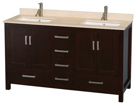 sheffield 60 quot espresso vanity ivory marble top