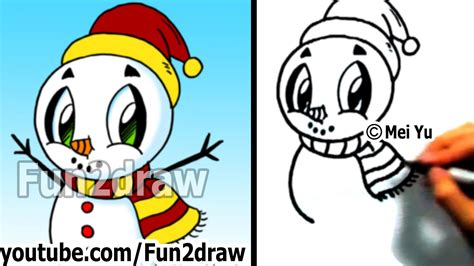 how to draw a cartoon snowman cute art drawing lessons