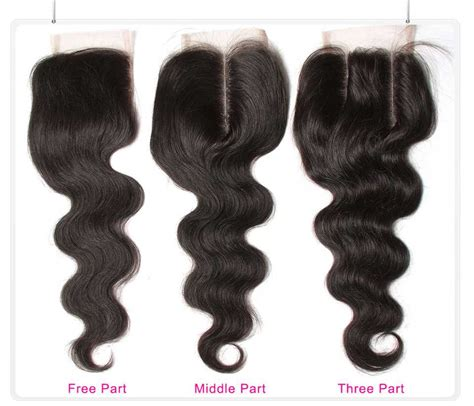 wiki closure hair extension unice body wave hair closure three part middle part and