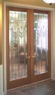 Interior glass door art deco stained glass doors