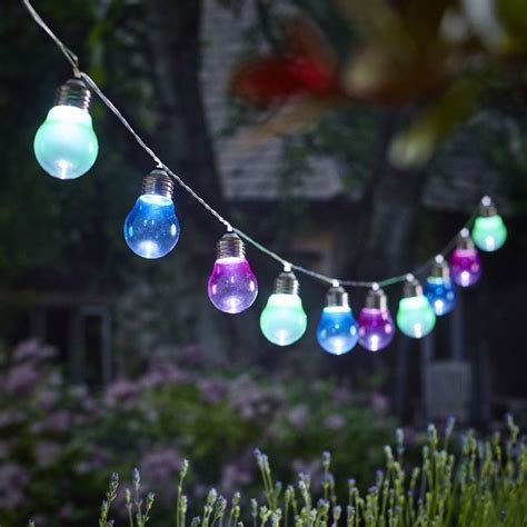 solar outdoor lighting string solar lightbulb string lights by garden trading