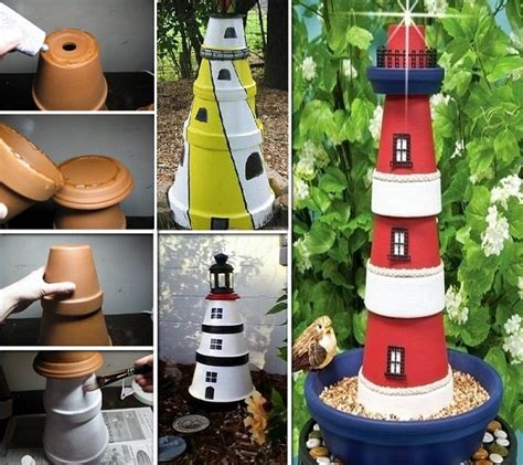 clay pot lighthouse for garden decor amazing diy