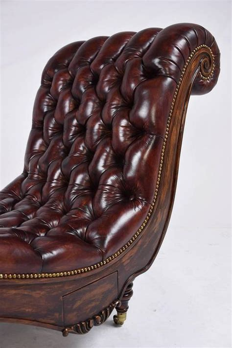chaise lounge chesterfield style chesterfield tufted leather chaise lounge at 1stdibs