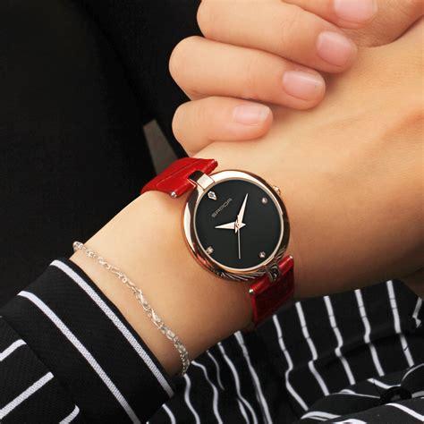quartz leather gold clock wrist