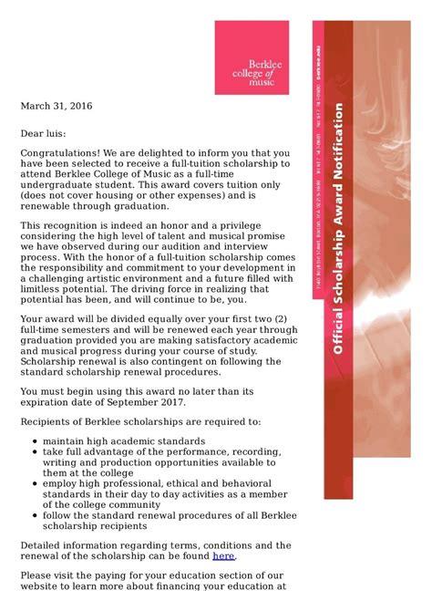 Berklee Scholarship Letter fundraiser for avila by luis celis help me to