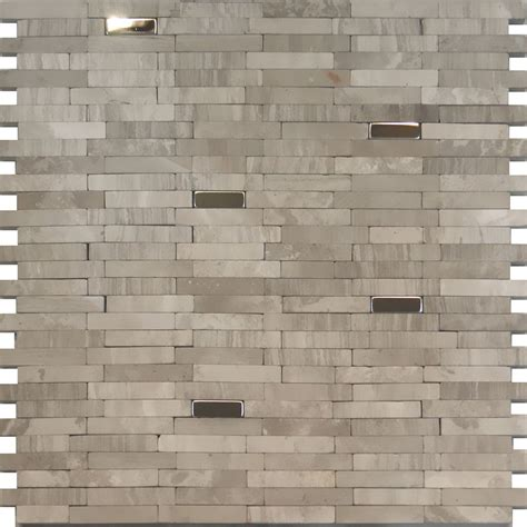 sample stainless steel insert gray marble stone mosaic