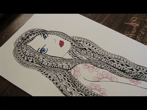 hair pattern drawing zentangle zentangle drawing with pattern doodle girl