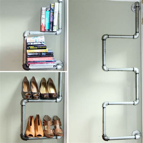 industrial pipe bookshelf and shoe rack