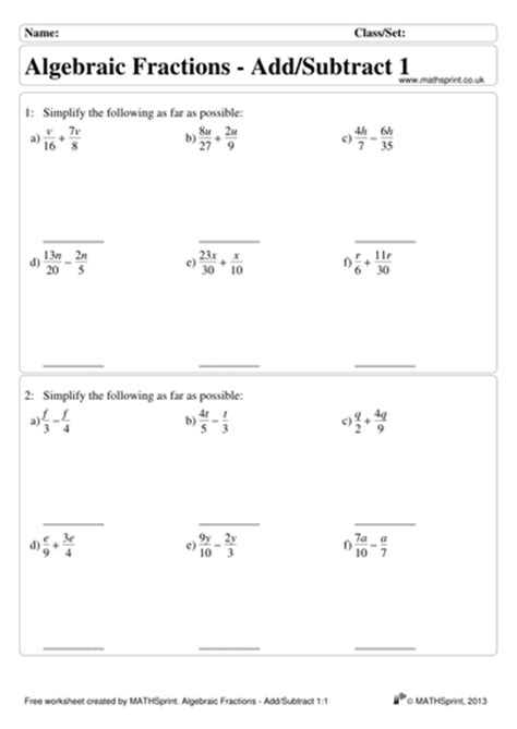 Algebraic Fractions Worksheet by Algebraic Fractions Practice Questions Solutions By
