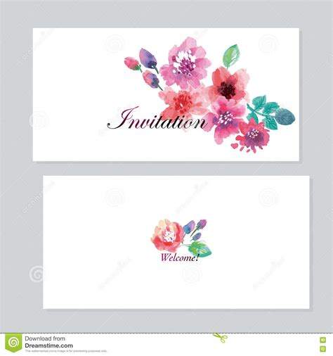 Watercolor Floral Invitation Template For Wedding Stock Vector Image 74148852 Watercolor Flower Invitation Template