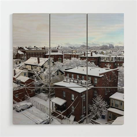portland maine winter wonderland  wood wall art