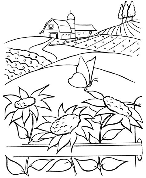 farm with crops coloring pages