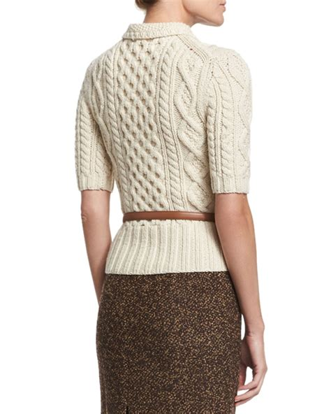 aran knit sweater lyst michael kors aran cable knit collared sweater in white