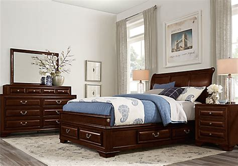 mill valley ii cherry  pc king sleigh bedroom  storage bedroom sets dark wood