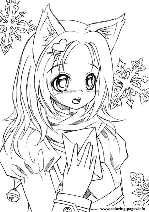 cute manga coloring pages cute anime catgirl lineart by liadebeaumont coloring pages