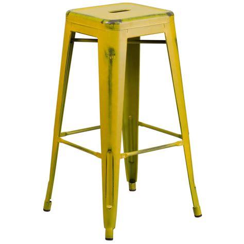 flash furniture 30 in distressed yellow bar stool