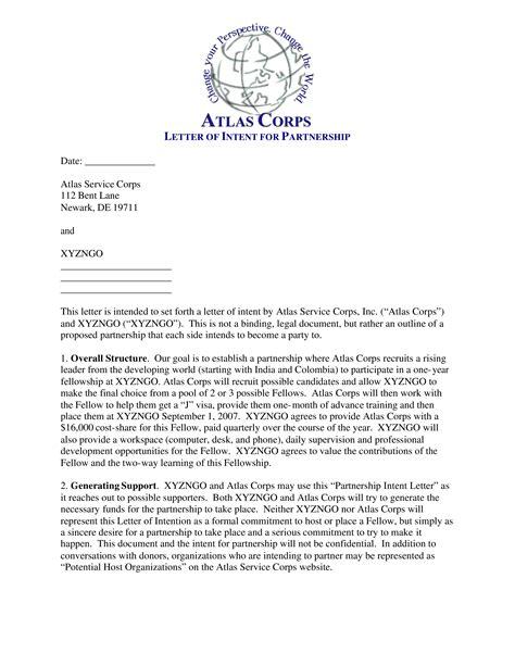 business partnership letter intent templates