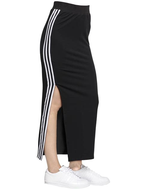 skirt with logo adidas originals logo stripes cotton jersey skirt in black