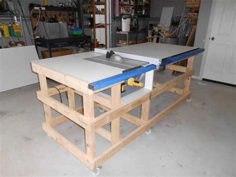 how to make a saw bench table saw work station with homemade t square fence part 1