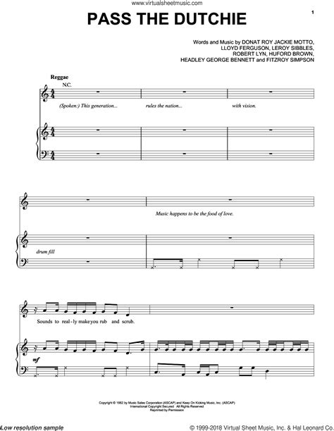 Pass The Dutchy by Youth Pass The Dutchie Sheet For Voice Piano Or