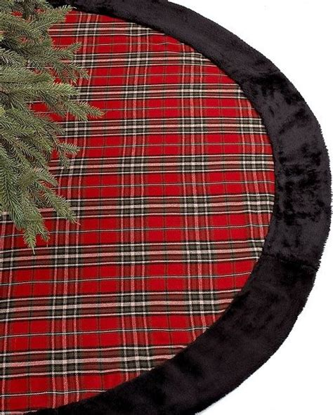 holiday lane christmas tree skirt plaid traditional
