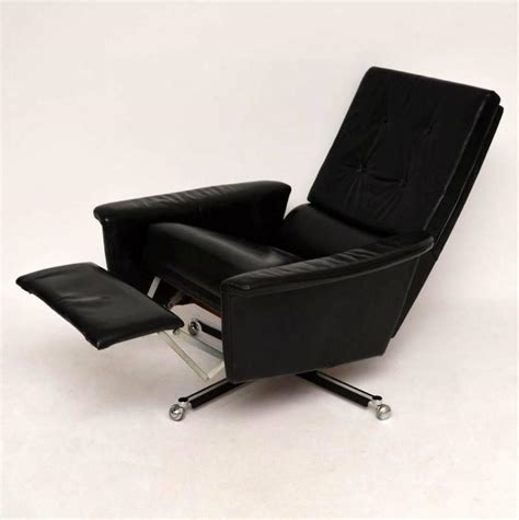 Leather Swivel Armchair by Retro Leather Swivel Reclining Armchair Vintage 1960s At