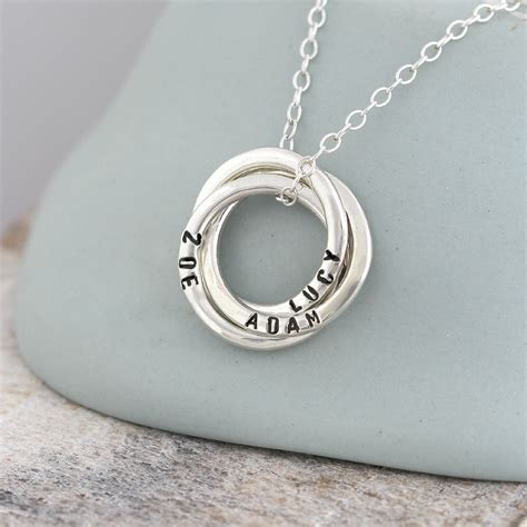 the beautiful personalised russian ring necklace is our