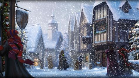 harry potter winter at pottermore background hogsmeade at christmas by xxtayce on