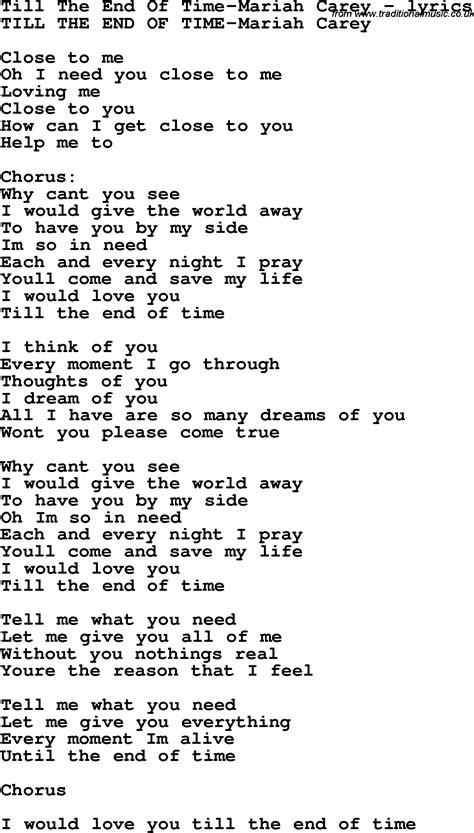 lyrics carey song lyrics for till the end of time carey