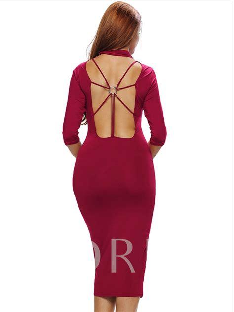 Plain Sleeve Dress plain 3 4 sleeve s open back dress tbdress
