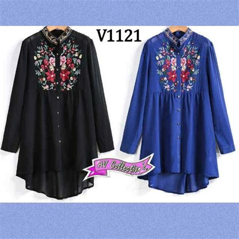 New Blouse Katun Bordir Aif612 baju muslim blouse wanita bordir v1121 hi low atasan syari