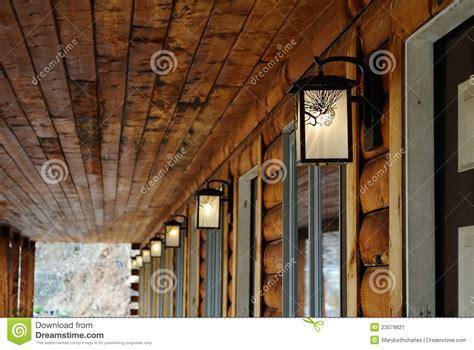 log cabin outdoor lighting log cabin motel light stock image image 23079821