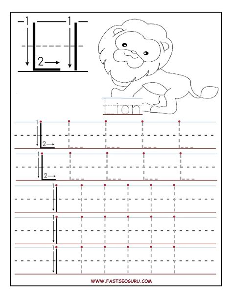 free coloring pages of alphabet tracing letter l