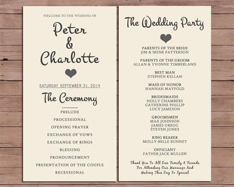 wedding ceremony order of service template wedding program order of service by darlingpapercompany on