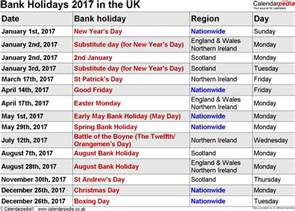 Calendar 2018 Bank Holidays Bank Holidays 2017 In The Uk