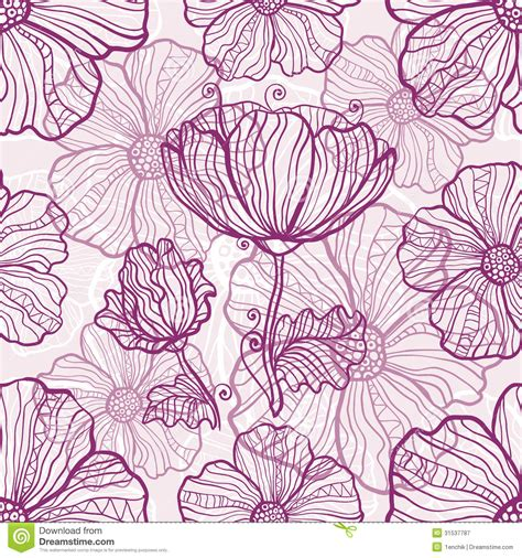 pattern flowers vector ornate poppy flowers vector seamless pattern royalty free