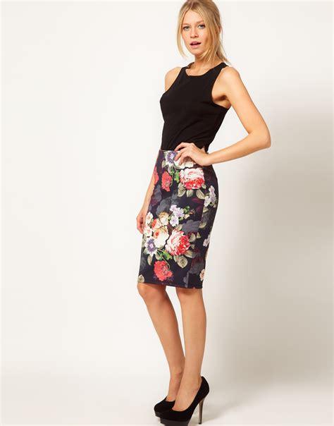 brainy mademoiselle floral pencil skirt