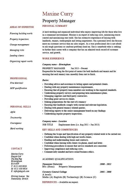 Resume Templates Property Manager by Property Manager Resume Exle Sle Template