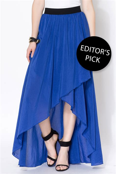 linden blue ruffled maxi skirt from arizona by clothes
