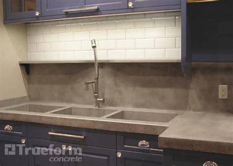 Concrete Countertop Backsplash Custom Sink Kitchen Concrete Countertop With
